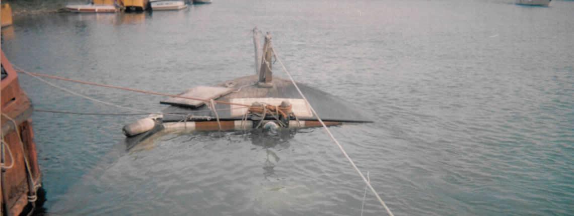 RECUPERO IMBARCAZIONE SAN MICHELE (lunghezza circa 30 mt) senza l'utilizzo di gru (Fiumicino)